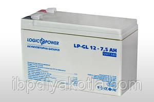 Аккумулятор гелевый Logicpower LP-GL 12V 7.5AH, (AGM) для ИБП