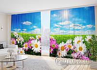 """3D Фото Штори """"Польові квіти на сонці"""" 2,7 м*2,9 м (2 полотна по 1,45 м), тасьма"""