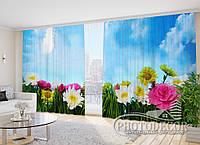 """3D Фото Штори """"Яскраві квіти в траві"""" 2,7 м*2,9 м (2 полотна по 1,45 м), тасьма"""