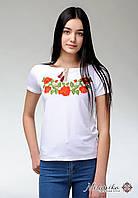 Білосніжна жіноча футболка із вишивкою квітами на короткий рукав під брюки «Ніжність троянд», фото 1