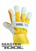 """MasterTool  Перчатки комбинированные из замши и ткани, усиленная ладонь, 10,5"""",  220-255 г, желтые, Арт.: 83-0706"""
