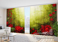 """Фото Шторы """"Розы на солнце"""" 2,7м*5,0м (2 полотна по 2,5м), тесьма"""