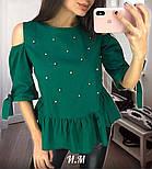 Женская хлопковая блуза с жемчугом (5 цветов), фото 3