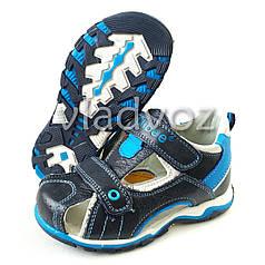 Босоножки, сандалии для мальчика черные с синим кожа Clibee 27р.