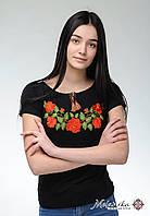 Жіноча вишита футболка у чорному кольорі із широкою горловиною «Ніжність троянд», фото 1