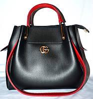 Женская черная сумка Gucci 2 в 1 с красными ручками 28*26 см