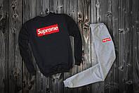 Спортивный костюм Supreme (черно-серый), суприм, Реплика