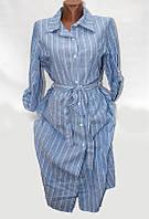 """Рубашка женская удлиненная в полоску размер 48-52 (3 цвета) """"ITALIA"""" купить оптом в Одессе на 7км"""