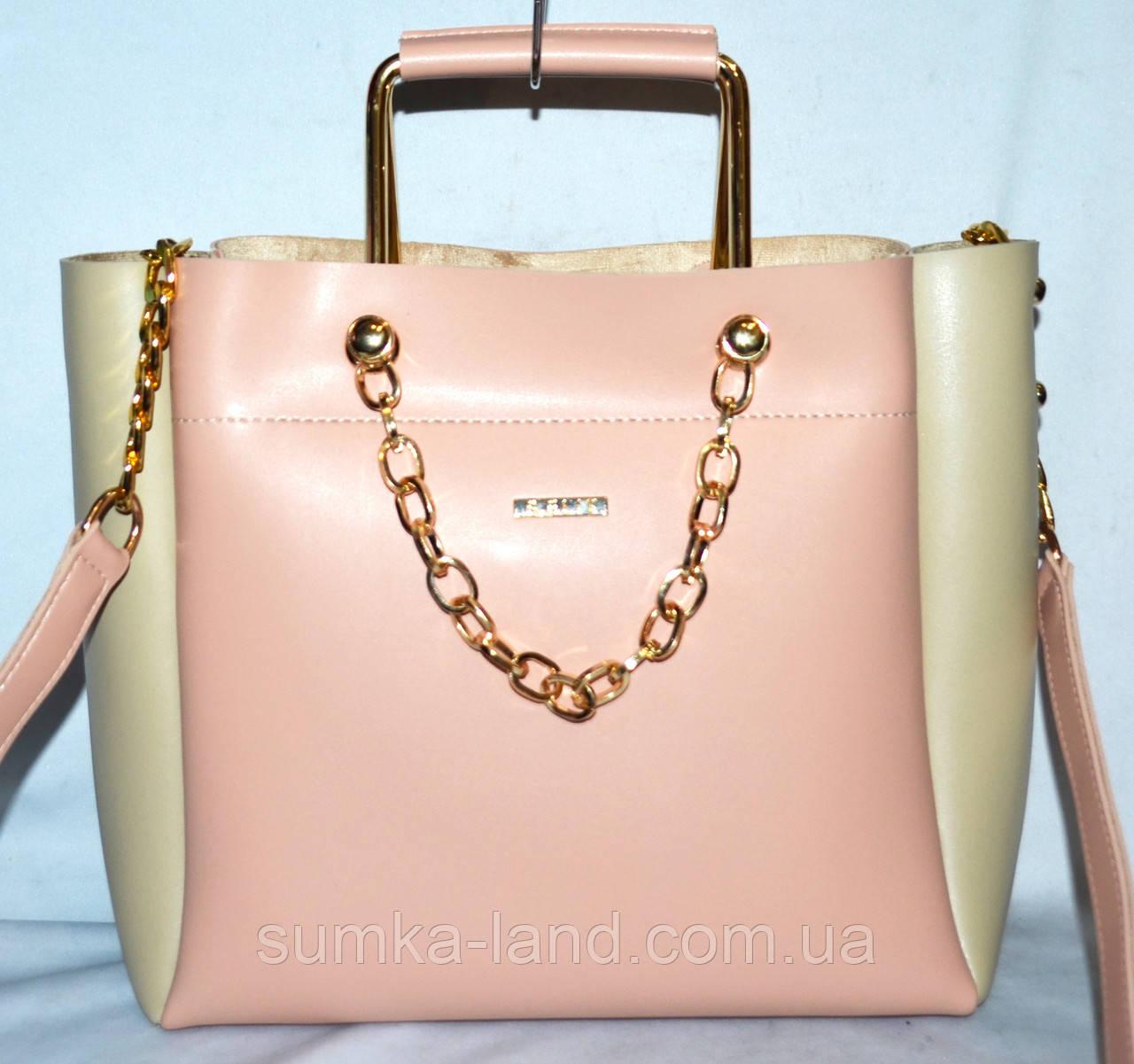 19f5829a907b Женская пудровая сумка B Elit с молочными вставками и ремешком на цепочке  25*24 см