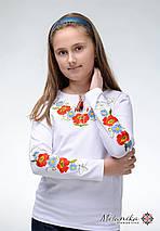 Модная детская футболка с вышивкой белого цвета «Маки-ромашки», фото 2