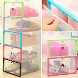 Пластиковый контейнер для обуви - (органайзер для обуви) Розовый, фото 3