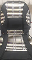Накидка сидения бамбуковая SH-35 BK (2 шт.) с подголовником черная,соломка+винил