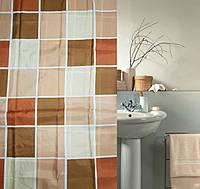 """Штора для ванной и душа """"Текстиль""""180х180 см (Коричневая клетка)"""