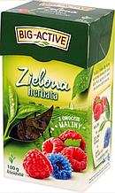 Чай листовой зеленый Big-Active Herbata zielona z ovocem maliny 100 г