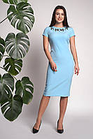 Платье прямого покроя Мирела 0315_1 Голубое
