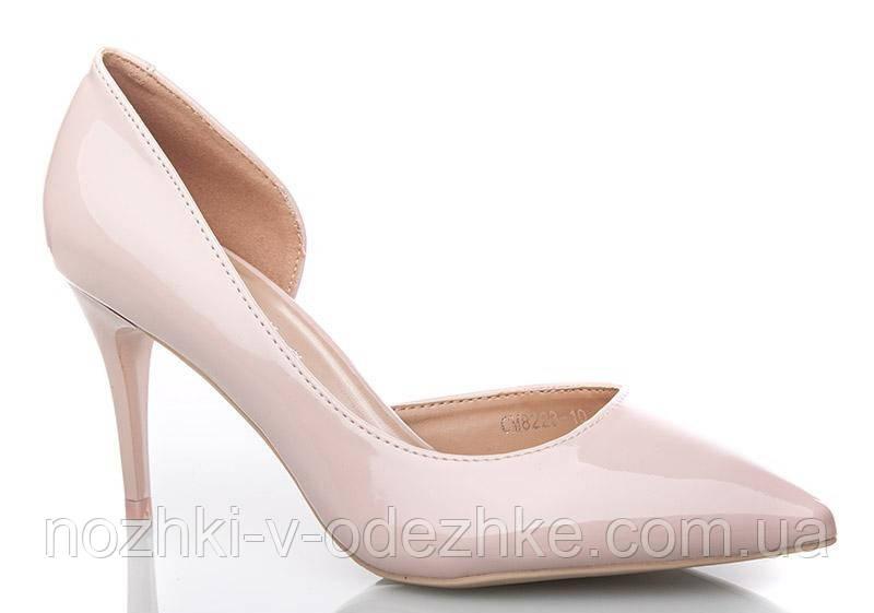 84aef69ab202 Лаковые розовые туфли лодочки на средней шпильке открытый бок 36- 40 - Интернет  магазин