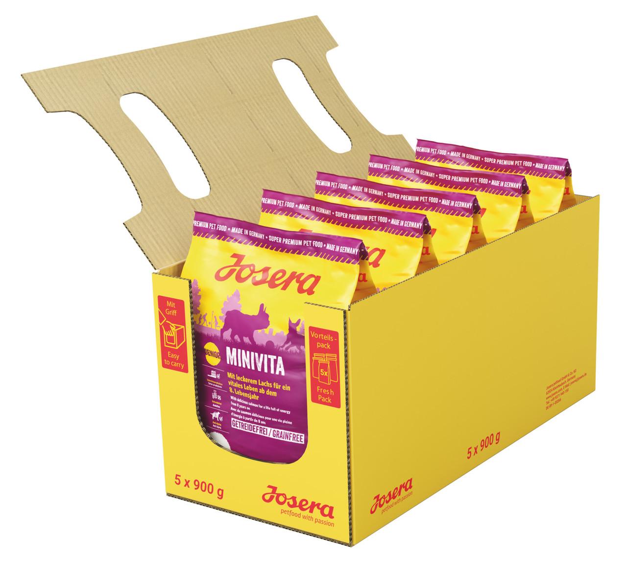 Josera MiniVita 0,9 кг - беззерновой корм с лососем для пожилых и малоактивных собак мелких пород