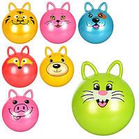 Мяч для фитнеса MS 0937 (25шт) с ушками, 50см, 400г, 7 видов(животные), в кульке, 19-15-4см