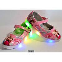 Светящиеся туфли для девочки, 26-31 размер, LED-мигалки, кожаная стелька, супинатор