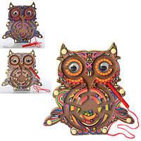 Деревянная игрушка Лабиринт MD 1011 (144шт) сова, 3 цвета, в кульке, 20-19-1,5см