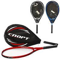 Теннисная ракетка MS 0761 (24шт) 1шт, алюм, 25дюйма, 3 цвета, в чехле,64-27,5-3см