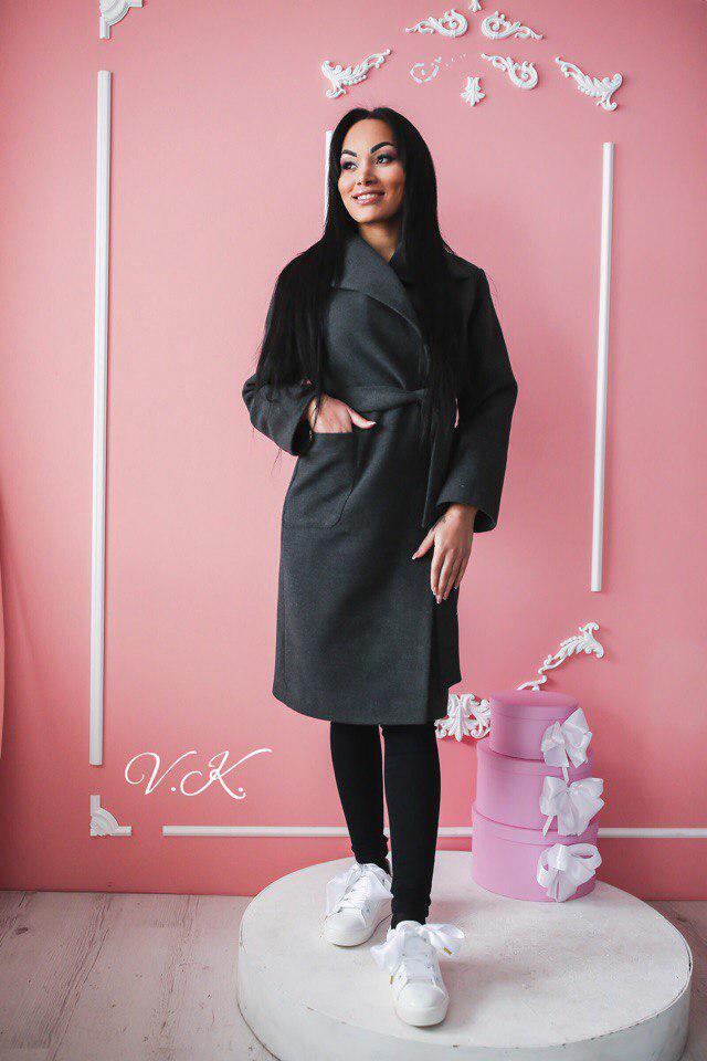 a795aab366c Черное женское пальто из итальянской шерсти с поясом 42-46 р - Styleopt.com