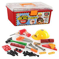 Набор инструментов 2058 (12шт) 41дет,каска,пила,молоток,дрель,искрит,на бат-ке,в ящике,36-16-22см