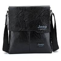 Мужская сумка Jeep черная и коричневая на плечо