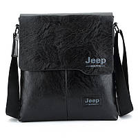 Мужская сумка Jeep черная и коричневая на плечо, фото 1