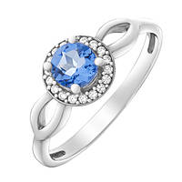 Серебряное кольцо Линара с кварцем цвета танзанит и фианитами 000055342
