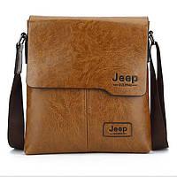 Мужская сумка Jeep черная и коричневая на плечо Коричневый