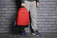 Рюкзак Reebok городской мужской с отделением для ноутбука с кожаным дном (красный)