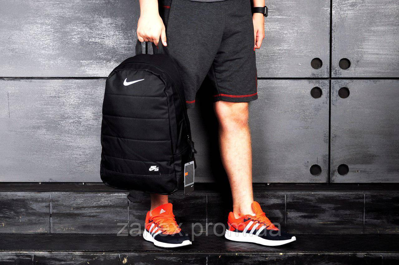 Рюкзак в стиле Nike Air городской мужской с отделением для ноутбука с кожаным дном черный(копия)