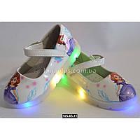 Светящиеся туфли для девочки, 26, 28 размер, LED-мигалки, кожаная стелька, супинатор