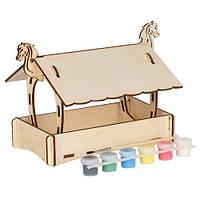 Сборная деревянная модель Кормушка конёк + краски (в сборе 22,5*17,5*16,5см)