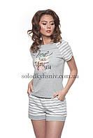 Жіноча Піжама ELLEN шорти+футболка Сіра Смужечка 150/001, фото 1