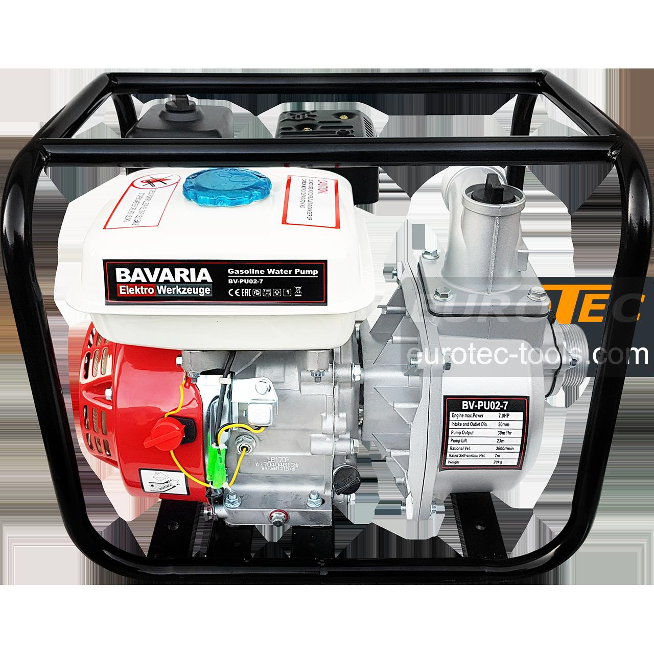 Мотопомпа Bavaria 500 л/мин, 7/23 м всасывание/подача, для чистой и грязной воды, для осушения и водоснабжения