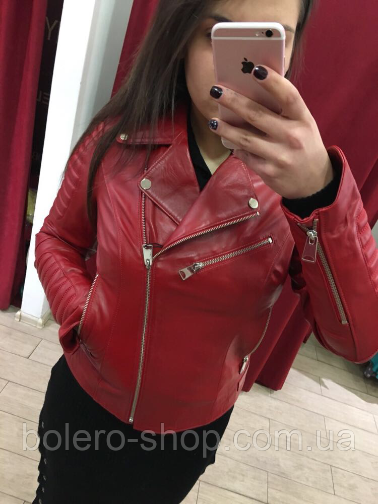 Куртка косуха женская кожаная красная