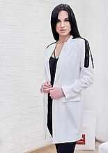 Пиджак женский удлиненный белый с чёрным бисером Milano Италия