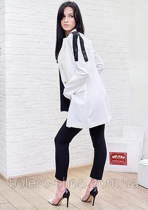Пиджак женский удлиненный белый с чёрным бисером Milano Италия, фото 2