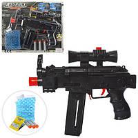 Автомат AK46-2 (60шт) 27,5см, водяные пули, мягк.пули-присоски 3шт, на листе, 35,5-31-4см