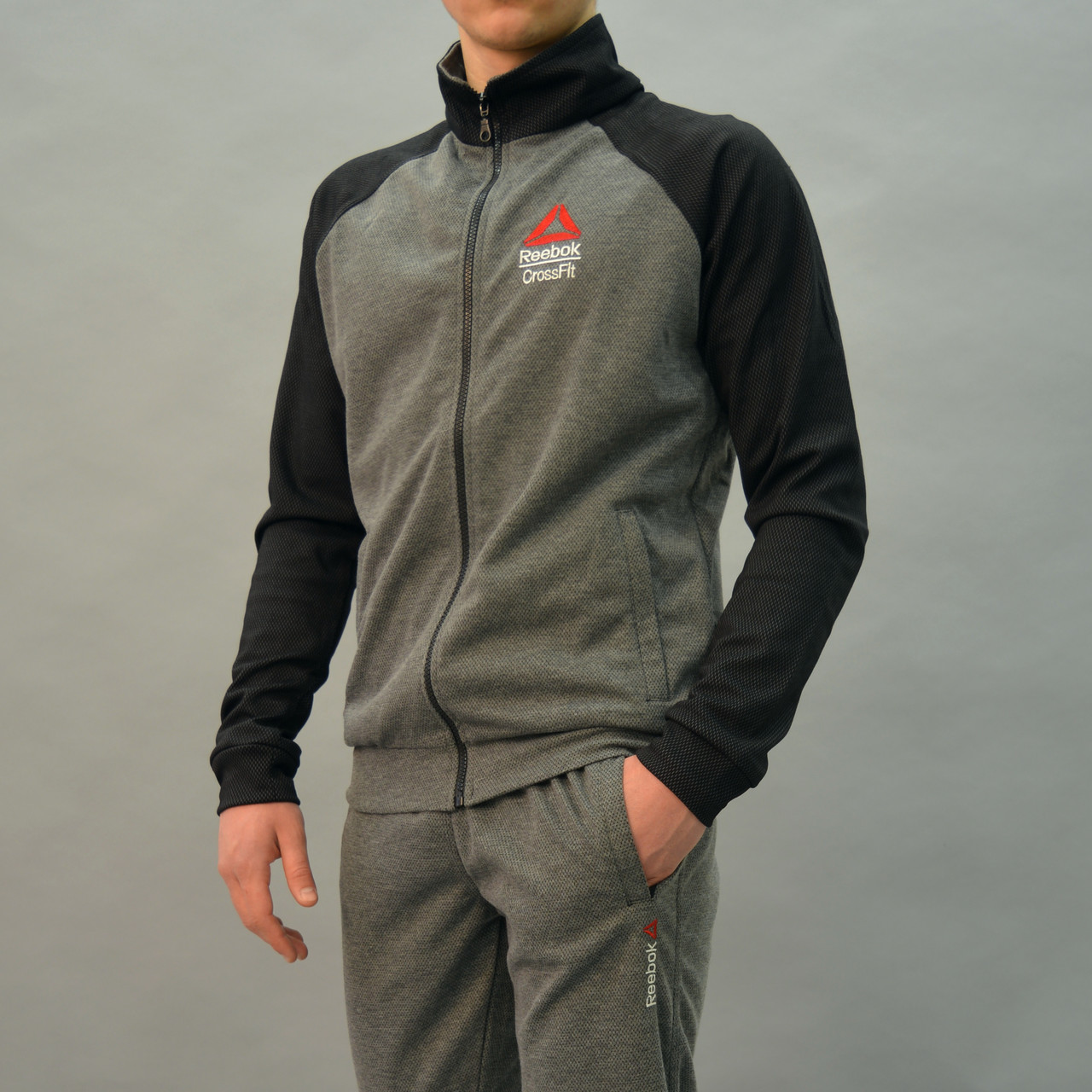 Серый мужской спортивный костюм Reebok Crossfit (Рибок)  6097cdb1b5a25