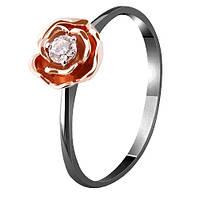 Золотое кольцо Весенняя роза с бриллиантом и черным родием 17 000062135