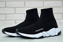 Кроссовки мужские Balenciaga Knit High-Top Sneakers Black/White/Black баленсиага . ТОП Реплика ААА класса., фото 2