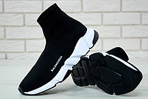 Кроссовки мужские Balenciaga Knit High-Top Sneakers Black/White/Black баленсиага . ТОП Реплика ААА класса., фото 3