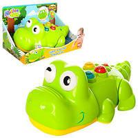 Животное 0696-NL (6шт) крокодил24см,ездит,муз,звук,свет,подвиж.дет,на бат-ке,в кор-ке,27-16-16,5см