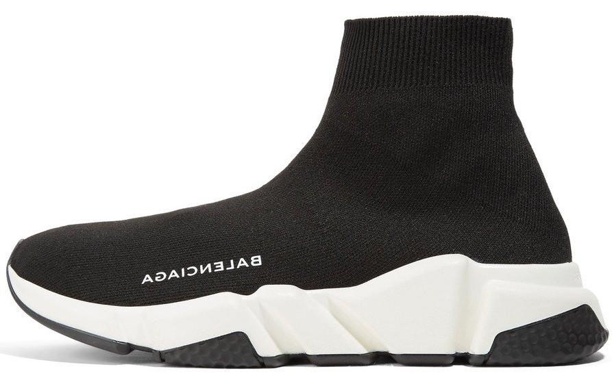 Кроссовки мужские Balenciaga Knit High-Top Sneakers Black/White/Black баленсиага . ТОП Реплика ААА класса.