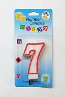 """Свеча цифра тортовая """"7"""" (семь) блестящая с красной окантовкой Number Candles"""