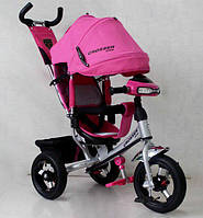Велосипед детский трехколесный Azimut Crosser One T1 ФАРА (надувные колёса) розовый