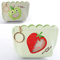 Кошелек M120 (96шт) фрукты-ягоды, застежка-молния, брелок, микс видов, в кульке,13-9,5-3см